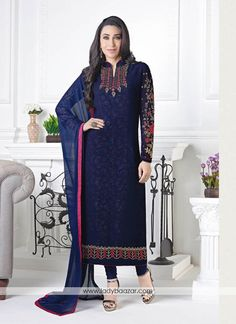 Navy Blue Georgette Embroidered Party wear Salwar Kameez material, Georgette kameez york sleeve and kameez border beautifully crafted with multi color thread embroidery. Kameez with Santoon bottom and Chiffon Dupatta. Pakistani Dresses Online, Indian Sarees Online, Indian Dresses, Indian Outfits, Pakistani Suits, Indian Clothes, Bollywood Suits, Bollywood Dress, Bollywood Fashion