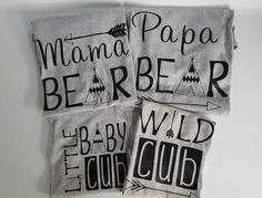 Family Bear shirts mama,papa,baby cub,wild cub bear shirts.family photos,sold in set or indivudual by luvolthings on Etsy