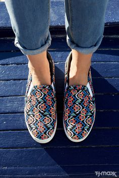 Paired with ripped jeans, these colorful slip-on sneakers are perfect for weekend errands. Or upgrade your outfit to cropped black pants and a silk top to grab drinks with girlfriends.