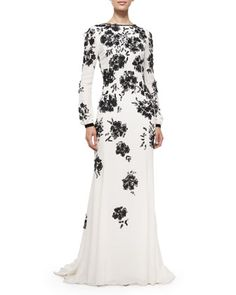 Long-Sleeve Floral-Embellished Gown, Ivory/Black by Oscar de la Renta at Neiman Marcus.