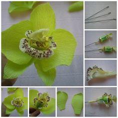Cómo hacer orquídeas con papel crepe y chocolates