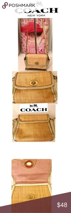 Coach 42475 Parker Straw and Gold Metallic Bag Ladies, check out this great summer straw and gold metallic leather trim bag by Coach. It appears to have never been used. The inside is mint as well as the outside. The original handle is missing and a long gold strap is the replacement. So now you can use it as a cross body bag. It has turn lock closure, multifunctional pocket and fabric lining. This is a great summer bag. Coach Bags Crossbody Bags