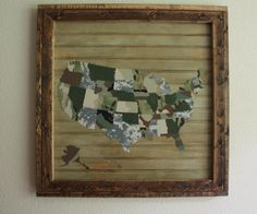 Upcycled United States Map Made from Discarded Army Uniforms - U.S. Map USA ARMY Fabric Map cloth map Military by worncotton on Etsy