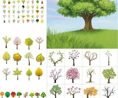 Stylized trees vector 2
