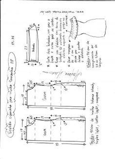 Esquema de modelagem de vestido ciganinha para malha tamanho PP.