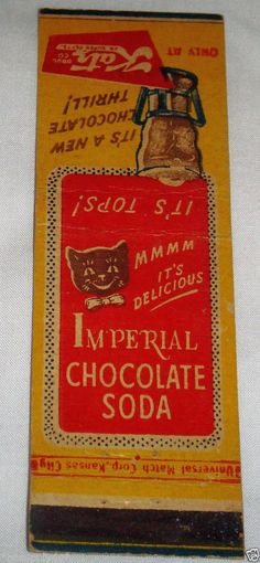 Cats in Art and Illustration: Katz Drug Imperial Chocolate Soda Matchbook