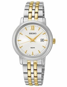 Seiko Womens Two Toned Stainless Steel White Dial Watch SUR815 ** You can find more details by visiting the image link.