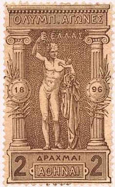Reading Time: 2 minutes The first modern Olympic Games were held in Athens in April and Greece issued a series of twelve stamps … Rare Stamps, Old Stamps, Vintage Travel Posters, Vintage Ads, Greek History, Greek Art, Mail Art, Stamp Collecting, Olympic Games