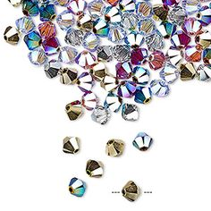 Bead, Swarovski® crystals, Crystal Passions®, Rock Star, 4mm Xilion bicone (5328). Sold per pkg of 48. - Fire Mountain Gems and Beads