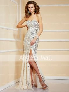 Strapless Sweetheart Sweep Train Beading Chiffon Evening Dresses
