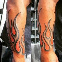 Stylish Flame Tattoo On Arm Sleeve