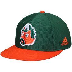 Miami Hurricanes adidas On Field Maniac climalite Fitted Hat - Green Orange 1f155dec065c