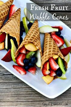 Healthy Snacks For Kids Are you looking for easy summer fruit snack ideas that your kids will LOVE? Make them Fresh Fruit Waffle Cones and check out this the other great ideas to make eating fruit fun this summer! Fresh Fruit Desserts, Fruit Salad Recipes, Fruit Dishes, Fruit Snacks, Dessert Recipes, Fruit Platters, Fruit Fruit, Fruit Salads, Summer Snacks