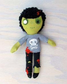 Pocket Zombie Doll  boy in a grey skull tee by charlotteandstewart, $35.00