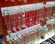 White Necklace Hooks Shoulder-to-Shoulder on Red Slatwall Slat Wall, White Necklace, Candyland, Jewellery Display, Hooks, Organization, Shoulder, Retail, Red