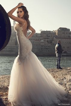 julie vino a j designers bridal s2017 sleeveless spagetti strap heavily embellished bodice tulle skirt sexy mermaid wedding dress open low back sweep train (aj106) zbv