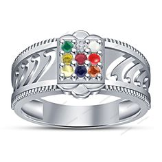 925 Sterling Silver Square Frame Multi-Color Stone Navratna Engagement Ring  #aonedesigns #Navratna