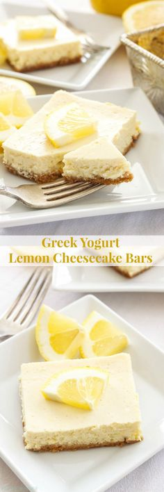 Greek Yogurt Lemon Cheesecake Bars are the perfect dessert to make this spring - Healthy Dessert 13 Desserts, Brownie Desserts, Clean Eating Desserts, Desserts To Make, Indian Desserts, Healthy Dessert Recipes, Healthy Desserts, Delicious Desserts, Yummy Food