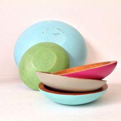 Set of 5 Vintage Baribocraft Wood Bowls / Shabby Chic Decor / Bohemian Decor / Ships from Canada  by RiversideStudioON on Etsy https://www.etsy.com/listing/190533280/set-of-5-vintage-baribocraft-wood-bowls