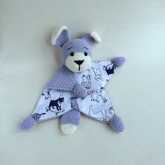 Baby secyruty blanket toy Dog / Crochet lovey animal comforter / first eco friendly toy / Montessori crochet toys Preemie Crochet, Crochet Lovey, Baby Blanket Crochet, Crochet Toys, Organic Baby Toys, Crochet With Cotton Yarn, Montessori Baby Toys, Crochet Octopus, Baby Security Blanket