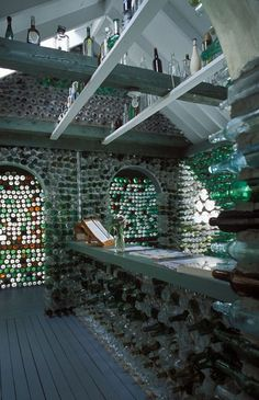 Over 25 000 recycled bottles ingeniously cemented together to create the Bottle Houses, a must-see tourist attraction situated in Cap-Egmont, Prince Edward Island, Canada. Bottle House, Bottle Wall, Prince Edward Island, East Coast Road Trip, Atlantic Canada, Earthship, Anne Of Green Gables, To Infinity And Beyond, Sustainable Design