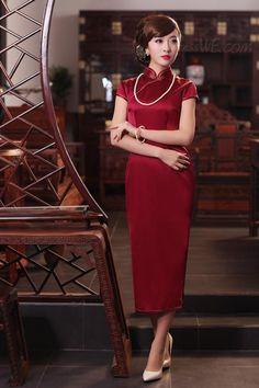 Concise Elegant Real Silk Oriental Column Long Cheongsam Dress 10921513 - Cheongsam Dresses - Dresswe.Com