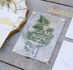 Pressed leaves/flowers in an invite