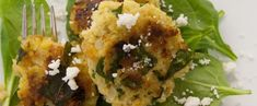 Millet Fritters with Feta, Spinach and Golden Raisins