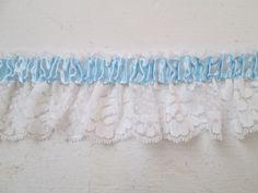 Blue & White Lace Bridal Garter Trim, DIY Bride- DIY Wedding Garterized / Elasticized Lace Supply for Something Blue Bridal Garter, Lingerie