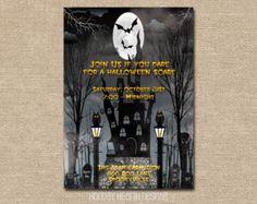 halloween invitation handmade digital invite by LisaMariesPaperie