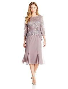 Alex Evenings Women's Petite T-Length Lace Dress with Beaded Applique, Vintage Rose, 8P
