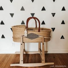 Natural Moses Basket Stand and Moses Bassinet Stand made of solid wood. American made baby Moses basket stands.