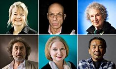 Clockwise from top left: Sarah Waters, James Ellroy, Margaret Atwood, Haruki Murakami, Hilary Mantel and Howard Jacobson. Photographs: Murdo...