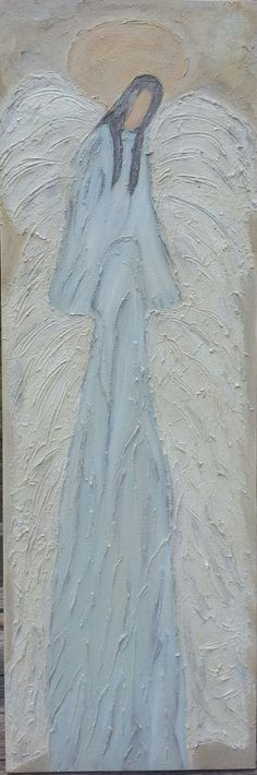 original abstract angel painting shabby chic cottage modern