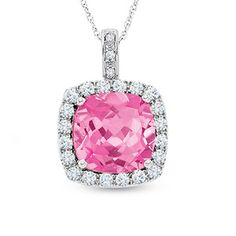Cushion-Cut Lab-Created Pink and White Sapphire Pendant in 10K White Gold with Diamond Accents - View All Necklaces - Zales