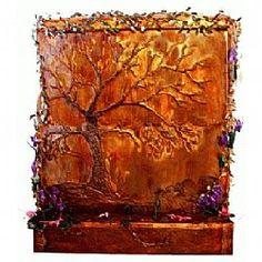 Indoor Copper Wall Fountain Golden Oak Old World Charm Indoor Floor Fountains, Indoor Fountain, Wall Fountains, Water Wall Fountain, Copper Wall, Hammered Copper, Hand Painted Walls, Water Walls, Metal Tree Wall Art