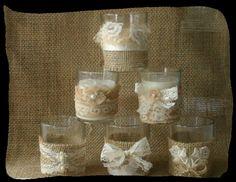 Burlap and lace candle votives