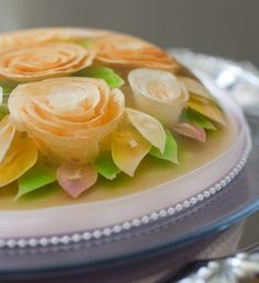 clear jello  with flowers