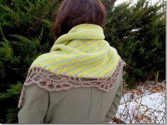 Knit striped triangle scarf