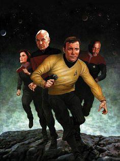 Star Trek - Four Captains Star Trek Captains, Star Trek Tv, Star Trek Series, Star Wars, Fantasy Star, Sci Fi Fantasy, Akira, Deep Space Nine, Captain Janeway