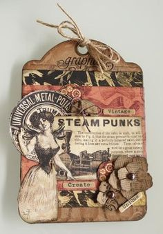 Steam Punk Tag  cool paper flowers
