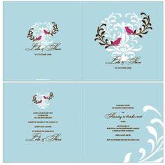 Two Little Birds Blue Wedding Invitation