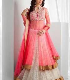 Buy Pink embroidered georgette unstitched lehenga choli lehenga-choli online