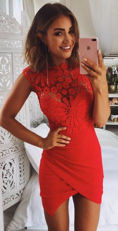 lace red dress