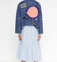>> Click to Buy << 2016 New Woman Navy Blue Distressed DENIM JACKET WITH Letters PATCH BACK Long sleeves buttoned Side pockets Uneven Frayed hem  #Affiliate