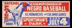 Negro League Baseball broadside (advertisement) featuring Kansas City Monarchs pitching phenom, Satchel Paige.