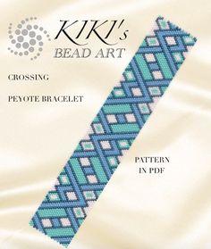 Peyote Pattern for bracelet - Crossing geometric peyote bracelet pattern in PDF - instant download