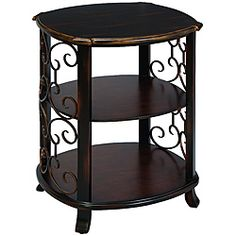 @Overstock - Materials: Wood, metal Finish: Dark Espresso and Walnut Wood     Form and function make this piece a must have addition to any decor http://www.overstock.com/Home-Garden/Hampton-Scroll-Two-tone-3-shelf-Side-Table/6376169/product.html?CID=214117 $175.99