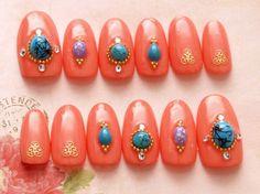 Oval nail cute nails press on nail ethnic nail art by Aya1gou