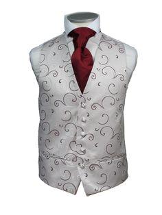 burgundy ivory ooh la la waistcoat. #wedding #groom #waistcoat   I ABSOLUTELY LOVE THIS VEST!